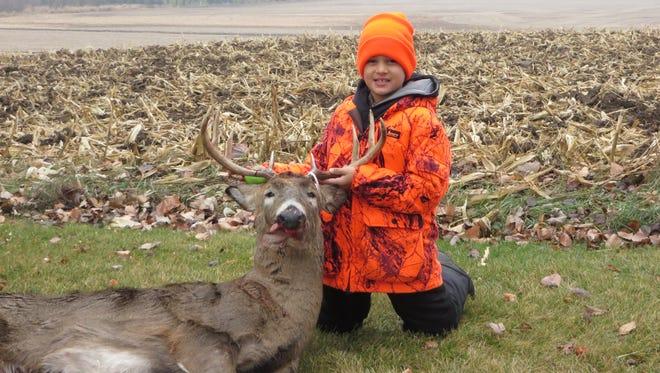 Blake Schraufnagel, 10, of Mayville shot this 10-point buck with a 19-inch spread on the opening day of gun deer season Saturday, Nov. 22.