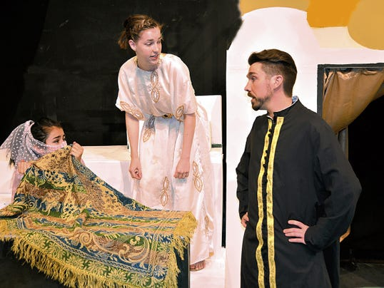 "Rebekah Rubalcava, left, Devin Blackwell and Heath Tjaden rehearse a scene from ""Arabian Nights,"" opening today at the Black Box Theatre."