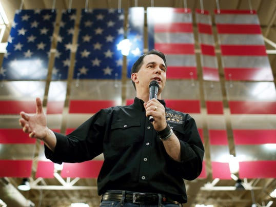 FILE - In this July 14, 2015, file photo, Republican presidential candidate Wisconsin Gov. Scott Walker speaks during a campaign event at a Harley-Davidson dealership in Las Vegas. Walker is scheduled to make an appearance in York County on Tuesday. (AP Photo/John Locher, File)