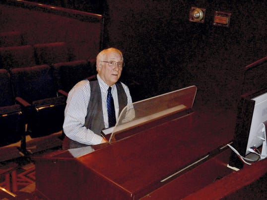 Don Kinnier at the console of the Allen's mighty theatre organ.