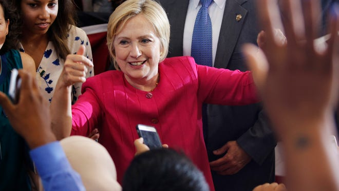 Democratic presidential nominee Hillary Clinton greets supporters at a voter registration rally in Philadelphia.