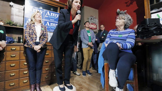 INDIANOLA, Iowa -- Democratic presidential candidate Sen. Amy Klobuchar, D-Minn., speaks during a stop at the Corner Sundry in December, in the lead up the Iowa caucuses.