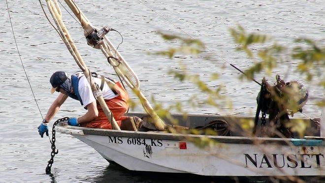 Season's over: Nick Beltrandi from Nauset Marine hauls in an Orleans mooring along The River.