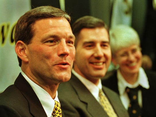 Kirk Ferentz is shown at his introductory press conference