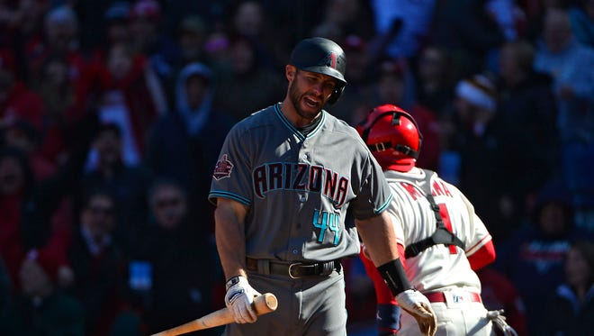Apr 7, 2018: Arizona Diamondbacks first baseman Paul Goldschmidt (44) reacts after striking out to end the game against the St. Louis Cardinals at Busch Stadium.
