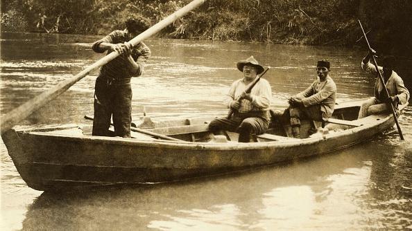 """Theodore Roosevelt in a canoe on the Amazon River. PBS documents the journey in """"American Experience: Into the Amazon,"""" 9-11 p.m. Tuesday."""