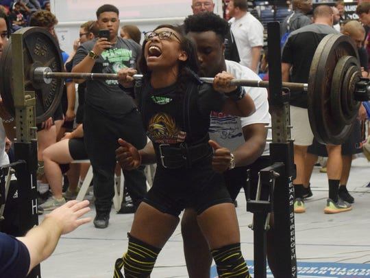 Chasity Jones of Peabody Magnet High School set a state record in Division III (Class 3A) after squatting 290 pounds in the the 2018 LHSAA/LHSPLA Division I-V Powerlifting Meet held at the Rapides Parish Coliseum Friday, March 16, 2018. Classes 1A and 2A competed Wednesday and Thursday. Divisions III and II (Classes 3A and 4A) competed Thursday and Friday. Division I (Class 5A) will compete Friday and Saturday.