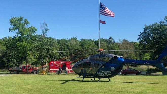 Medflight from Boston lands at Hathaway Park in Freetown to airlift Wareham man who jumped from The Ledge while swimming with friends on Sunday.