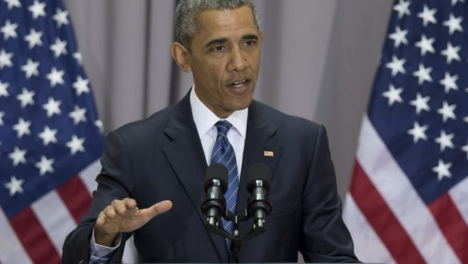 President Barack Obama speaks about the nuclear deal with Iran, Wednesday, at American University in Washington. The president said the nuclear deal with Iran builds on the tradition of strong diplomacy that won the Cold War without firing any shots.