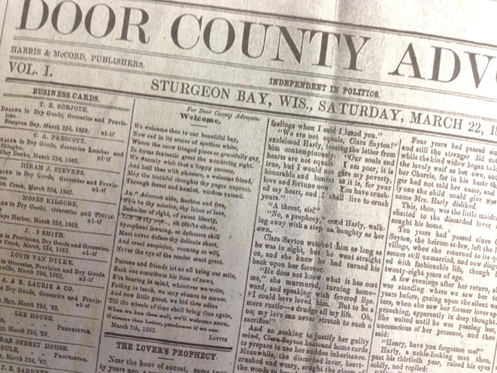 From the archives 1868 storm burst 40 barrels of beer $400 lost & Door County Advocate