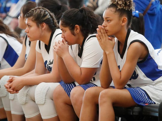 Cathedral City's players react in the fourth quarter