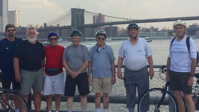 Activities Club bicycle group members Skip Huisking, Brian Cassin, Lou Ciarallo, Ed Morandi, Lou Fossa, Werner Kofler and Bill Gilligan