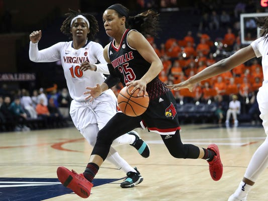 Louisville's Asia DurrHear how to pronounce Asia Durr (25) splits two Virginia defenders during the first half of an NCAA college basketball game Thursday, Feb. 1, 2018, in Charlottesville, Va. (Zach Wajsgras/The Daily Progress via AP)