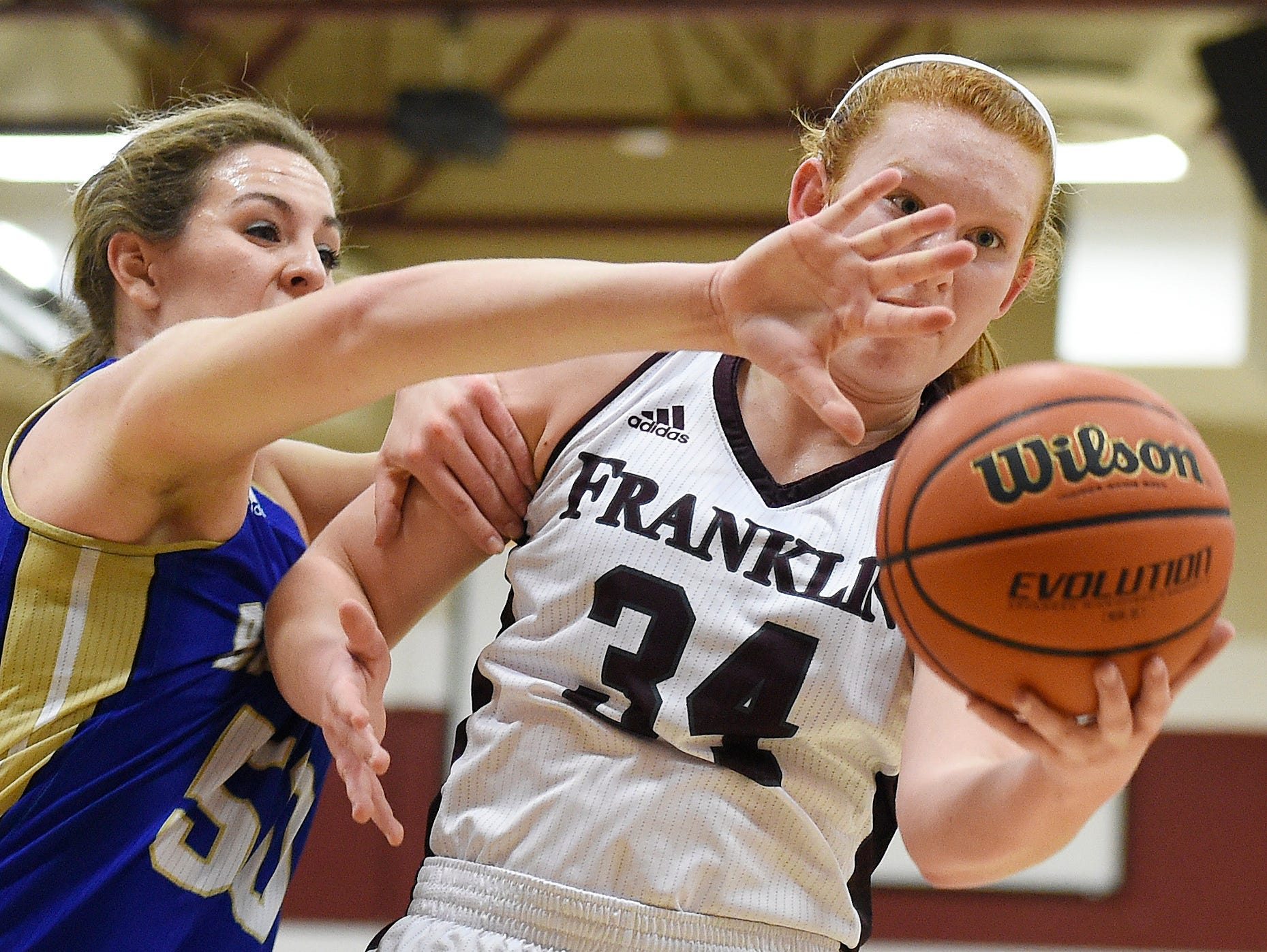 Franklin's Jodi Hill (34) battles Brentwood's Taylor Sexton (50) during the first half at Franklin High School, Tuesday, Feb. 16, 2016, in Franklin, Tenn.