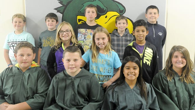 This year's student judges at Riverview Elementary School are (back row, from left): Julius Sawyer, Saxon Madsen, Tristan Dums, Dylan Clinger, Justin Neils; (center row, from left): Tru Lundeen, Zoee Wass, Ellan Ortiz; (front row, from left): Samual Pry, Colton Clark, Nicia Galindo. Cassie Cleland.)