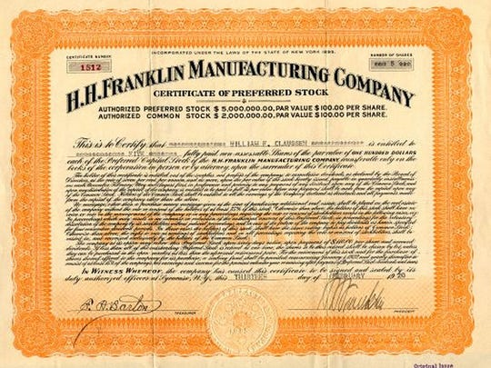 A stock certificate for the Franklin Automobile Co.