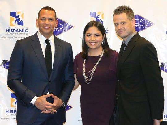 Alex Rodriguez, left, with Ludim and Paul Gleichauf.