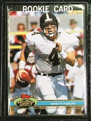 On this 1991 Stadium Club rookie card, Brett Favre's