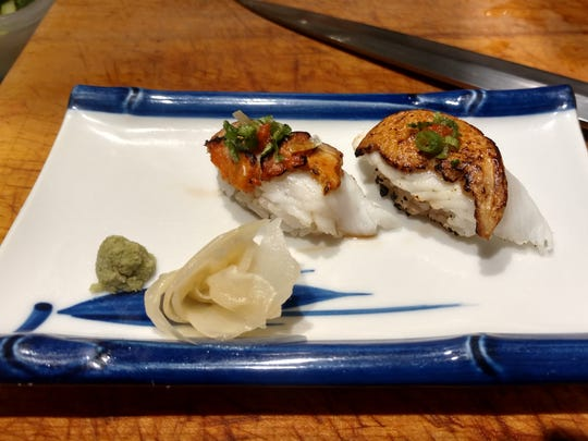 Fluke, seared with monkfish liver, a dish that to be available at the new sushi restaurant planned for Cherry Street, Burlington.