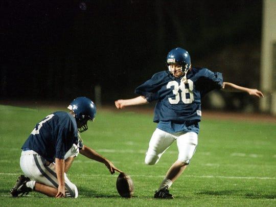 Heather Sue Mercer (38) kicks field goals during spring practice in Durham, N.C., March 29, 1995.