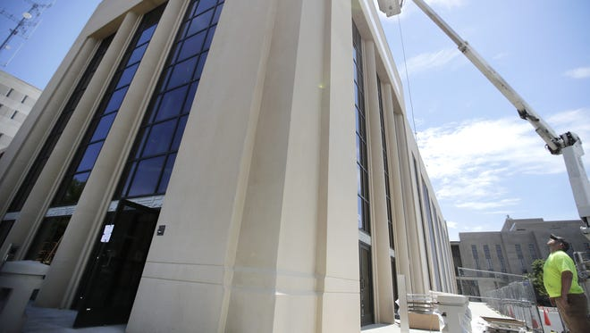 Work is nearing completion on the new entrance to the Outagamie County Justice Center and County Administration Building in Appleton. The new connected campus will be called the Outagamie County Government Center.