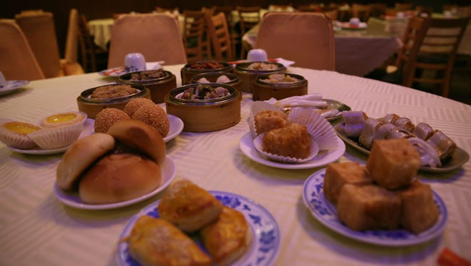 Dim sum, a Chinese style brunch, served at Canton House at 85 Commerce Drive. Dishes include shrimp dumplings, sweet buns, beef ribs, pork ribs, steam shrimp dumplings, chicken feet, tripe, crab claws and more.