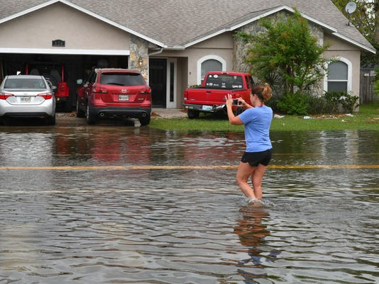 Monday flooded streets in Brevard