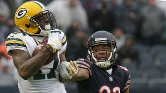 Green Bay Packers wide receiver Davante Adams (17) makes a 42-yard reception on their down while being covered by Chicago Bears cornerback Kyle Fuller (23) during the fourth quarter of their game Sunday, November 12, 2017 at Soldier Field in Chicago, Ill. The Green Bay Packers beat the Chicago Bears 23-16.  MARK HOFFMAN/MILWAUKEE JOURNAL SENTINEL