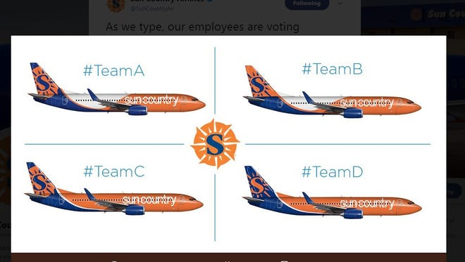 Sun Country employees are being asked to vote on a new paint scheme for the carrier's planes. These are the four possible combinations.