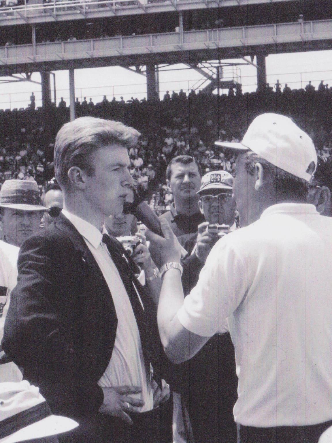 On just his third day at the track, 21-year-old Donald Davidson was interviewed by longtime IMS public address announcer Jim Phillippe.