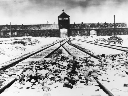 This is the entry to the Auschwitz-Birkenau concentration camp in February/March 1945.