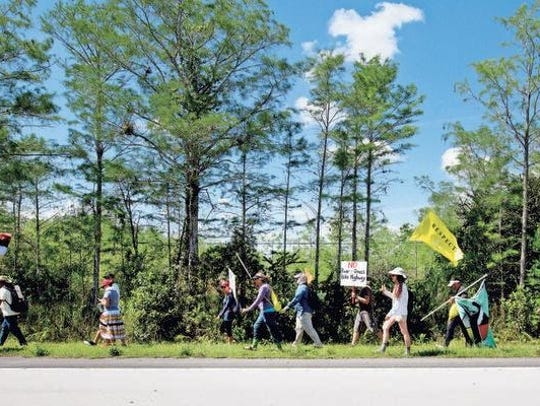 Protesters walk along the Tamiami Trail to show their