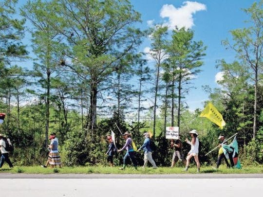 Protesters walk along the Tamiami Trail to show their opposition to a proposed Everglades bike trail from Naples to Miami.