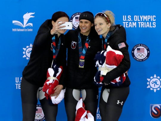 Heather Bergsma, Brittany Bowe, and Mia Manganello