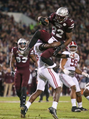 Mississippi State's Aeris Williams (22) ran for 97 yards and two TDs in the Bulldogs' 31-24 loss to Alabama last year in Starkville. The SEC announced Monday that the Nov. 10 game between the teams in Tuscaloosa will be televised nationally on CBS.