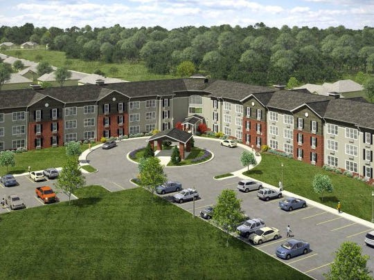 An aerial view of The Residences at Five Points in an artist's rendering shows how the new facility for seniors will look when completed. SUBMITTED