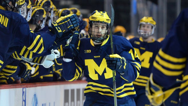 Michigan forward Tyler Motte (14) high-fived teammates after scoring a goal against Minnesota during a first-period power play. Michigan won 5-3.