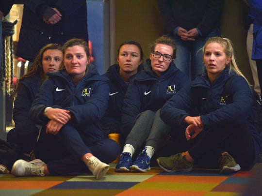Augustana University women's soccer team attends the news conference for the new Director of Athletics, Josh Morton, Friday, April 6, at Augustana University in Sioux Falls.