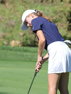Hudson graduate Meaghan Grant, seen here putting at a Suburban League tournament in 2018, finished in a tie for third at a Norther Ohio Junior PGA event Monday at Lake Forest Country Club.