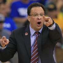 Indiana coach Tom Crean calls instructions to his team during the first half of an NCAA tournament game against Wichita State on March 20 in Omaha, Neb.