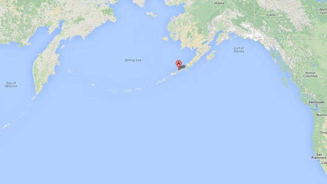 A screenshot of a Google Maps page shows the location of Cold Bay, Alaska.