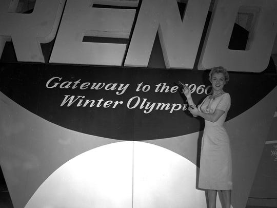 British actress Barbara Foy poses in front  of a sign