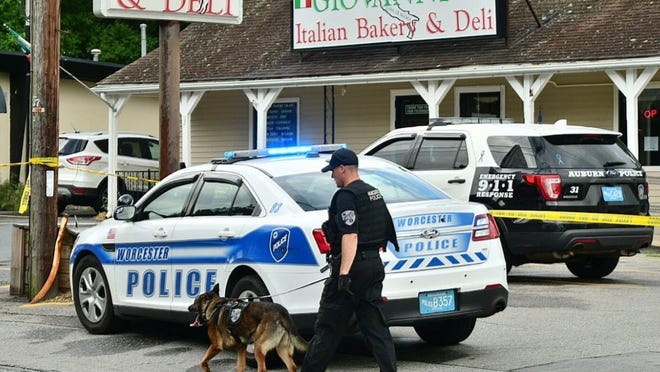 A police tracking dog was summoned to the scene of a shooting Friday on Hope Avenue in Worcester.