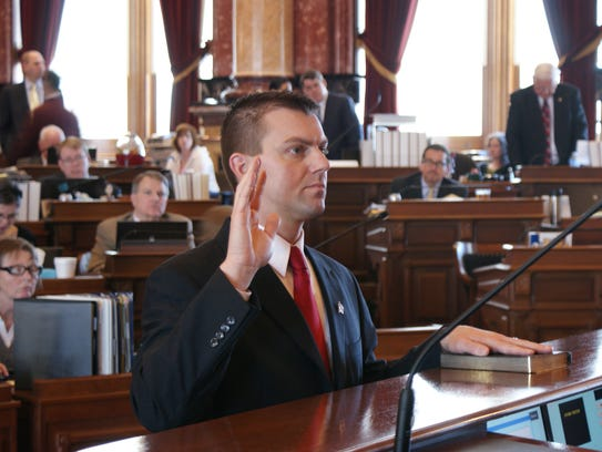 From 2011: Sen. Jack Whitver, R-Ankeny, takes the oath