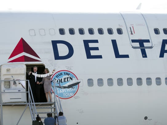 Gene Peterson, a Delta 747 pilot and his new bride,
