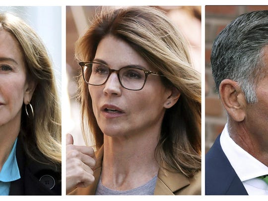 This combination photo shows actress Felicity Huffman, from left, actress Lori Loughlin and her husband, clothing designer Mossimo Giannulli, outside federal court in Boston on Wednesday, April 3, 2019, where they faced charges in a nationwide college admissions bribery scandal. (AP Photos/Charles Krupa, Steven Senne)