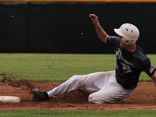 Plymouth senior Pete Carravallah steals second base