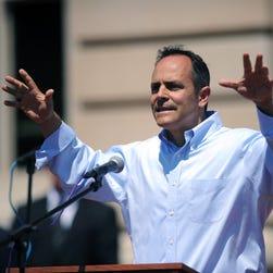 Kentucky's GOP gubernatorial nominee, Matt Bevin, speaks Aug. 22, 2015, at a Religious Freedom Rally in Frankfort, Ky.