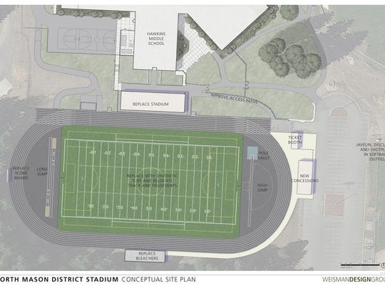 A site plan has been developed to guide renovations of the Phil Pugh Stadium for the North Mason School District.