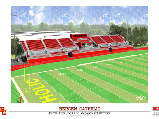 Architects rendering of the new look for the Bergen Catholic football field.